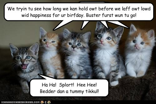 Cleverness Here Cleverness Here Cleverness Here We tryin tu see how long we kan hold owt before we laff owt lowd wid happiness for ur birfday. Buster furst wun tu go! Ha Ha! Splort! Hee Hee! Bedder dan a tummy tikkul!