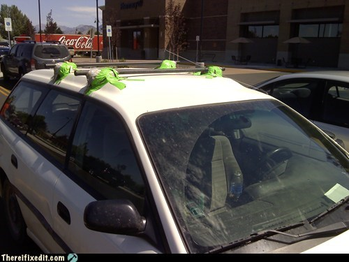 duct tape,green tape,roof rack