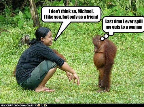 disappointed,embarrassed,friend,friendzoned,i like you,love,orangutan,Sad