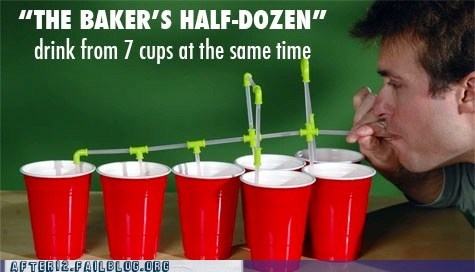 bakers-half-dozen,red cups,solo cups,straws