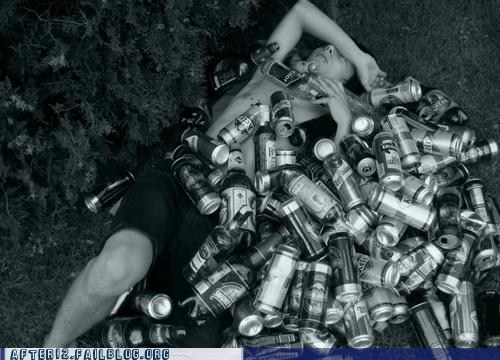 beer cans mattress passed out - 6461643776