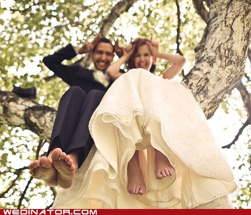 bride,couple,funny wedding photos,groom,pose,tree