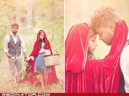 bride,fairytale,funny wedding photos,groom,Little Red Riding Hood