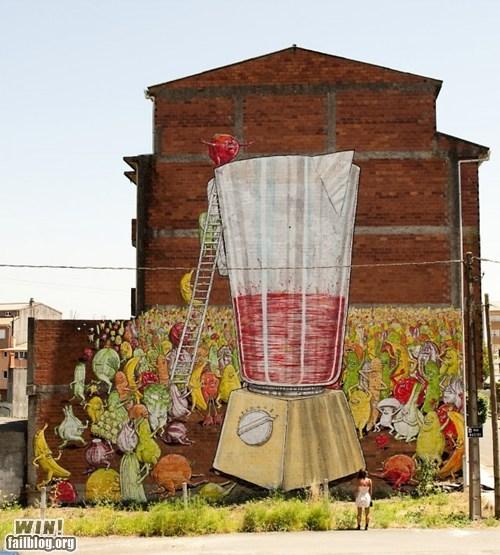 art blender food graffiti hacked irl Street Art vegetables - 6462237184