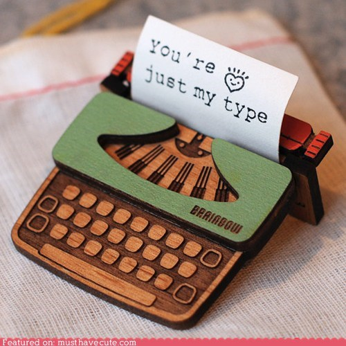 brooch laser cut miniature pin tiny typewriter wood - 6462290688