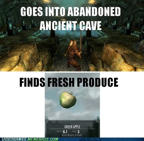 ancient cave,apples,fresh produce,gameplay,Skyrim