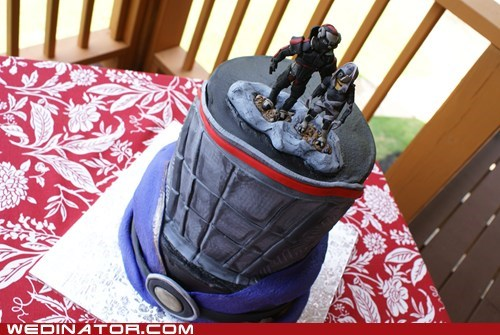 cakes,funny wedding photos,geek,mass effect,video games,wedding cake