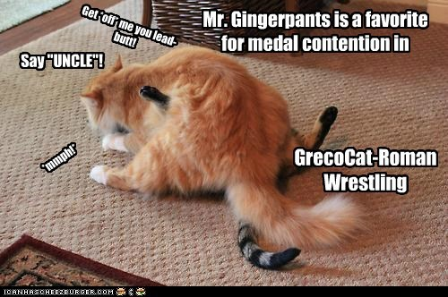 """GrecoCat-Roman Wrestling Mr. Gingerpants is a favorite for medal contention in *mmph!* Get *off* me you lead-butt! Say """"UNCLE""""!"""