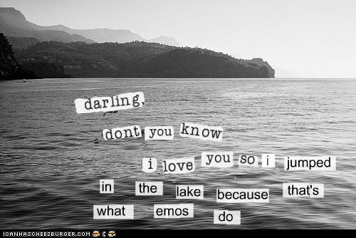 emo,emolulz,jumped in a lake,lake