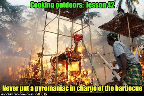 Cooking outdoors: lesson 42 Never put a pyromaniac in charge of the barbecue
