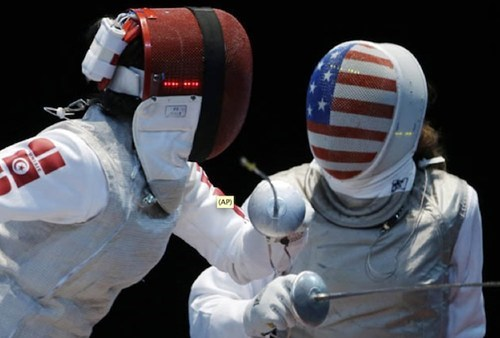 Fencing,London Olympics,masks,stars and stripes