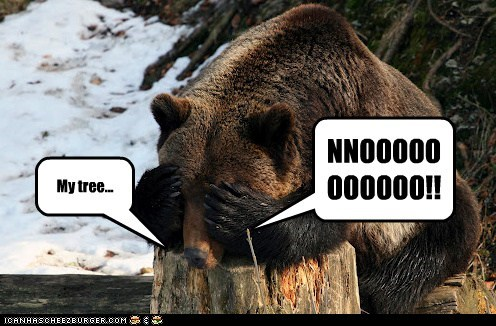 bear crying noooooooo pun stump tragedy tree