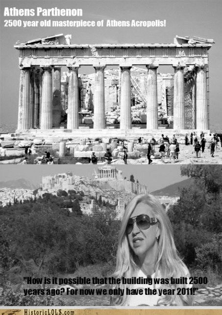 athens greece old parthenon stupid woman - 6464878592