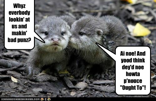 bad jokes,confused,joke,let it go,otters,ought to,puns,stupid,whisper