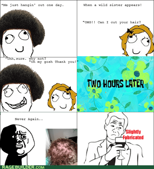hair harcut oh god why Rage Comics slightly fabricated - 6465369344