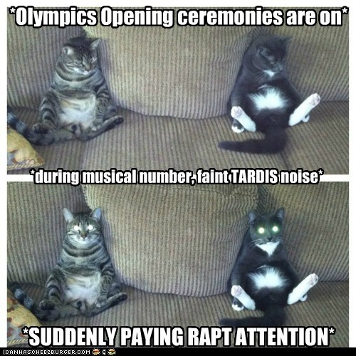 *during musical number, faint TARDIS noise* *Olympics Opening ceremonies are on* *SUDDENLY PAYING RAPT ATTENTION*