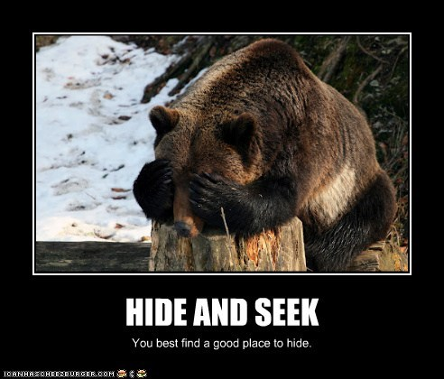 bear,dangerous,do not want,eyes covered,game,hide and seek,lose,scary,stump