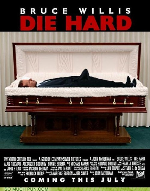 bruce willis,die hard,double meaning,Hall of Fame,literalism,Movie,poster,redone