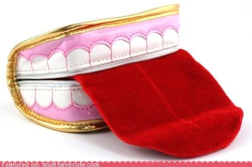 mouth pouch purse teeth tongue zipper - 6466479360