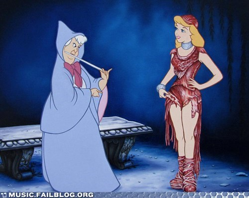 cinderella disney lady gaga meat dress Movie screencap