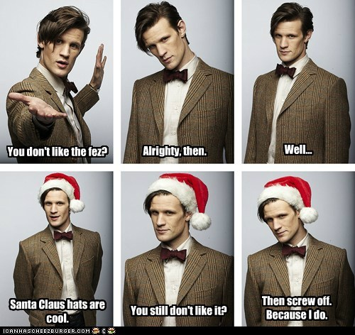companion FEZ Matt Smith santa hat screw you the doctor