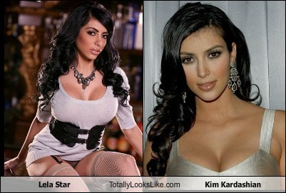 Funny pictures of Lela Star and Kim Kardashian totally looking alike.