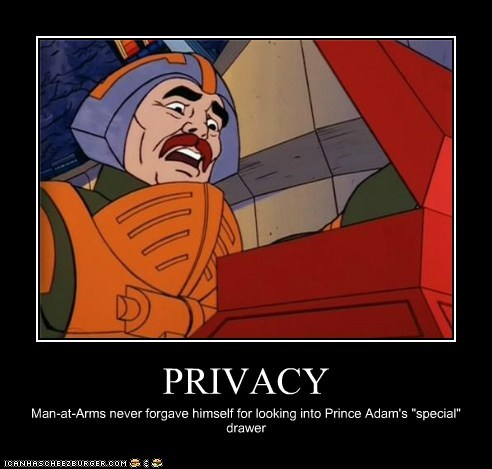 "PRIVACY Man-at-Arms never forgave himself for looking into Prince Adam's ""special"" drawer"