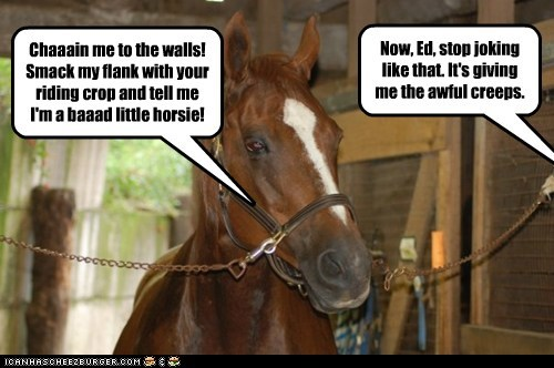 captions chain creepy horse joking mr ed riding crop smack whip - 6469041920