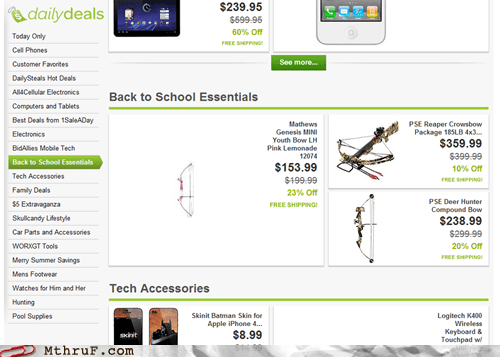 bow and arrow,crossbow,school essentials