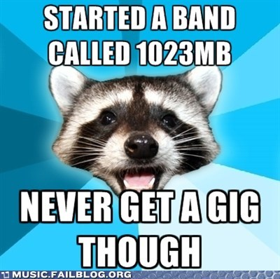 bad pun band gig live shows meme pun raccoon - 6469411840