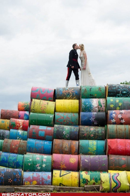 barrels,bride,funny wedding photos,groom,KISS,marines