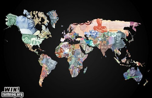 art currency globe map money