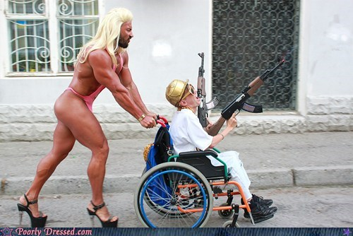 beefcake crossdressing ripped weird what wheel chair