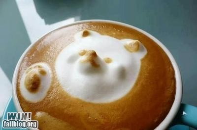 bear,coffee,coffee art,cute,latte