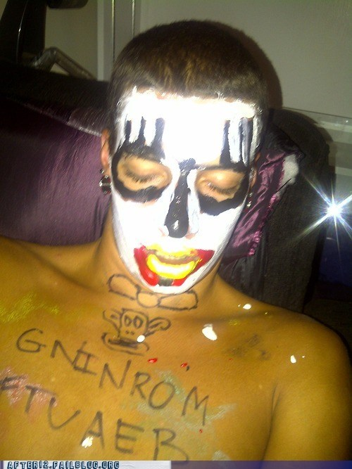 clown mask facepaint sharpie sharpie skillz wilson writing backwards - 6469903360