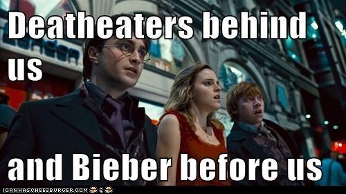 Daniel Radcliffe,death eaters,doomed,emma watson,Harry Potter,hermione granger,horror,justin bieber,Ron Weasley,rupert grint