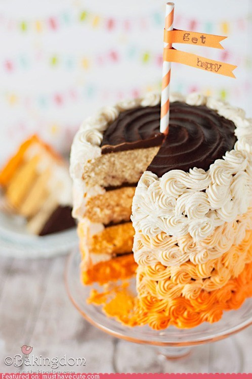 best of the week,cake,chocolate,cream,epicute,layers,ombre,orange