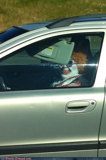 car,clown,makeup,weird,what