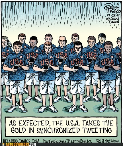 bizarro,syncronized tweeting,team usa