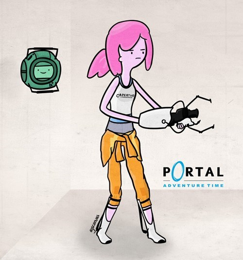 Cartoon of girl holding some kind of cleaning weapon.