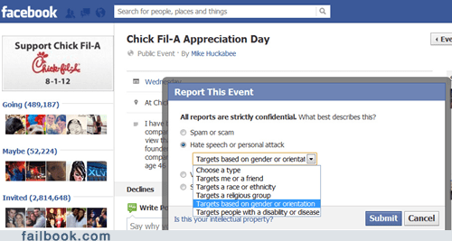 chick fil-a chick-fil-gay discrimination failbook g rated gay rights hate speech homosexual LGBT