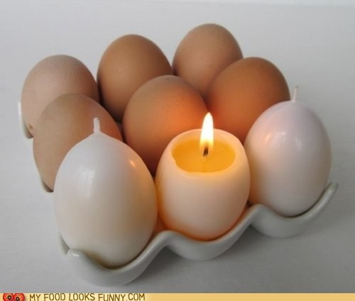 burn candles eggs wick