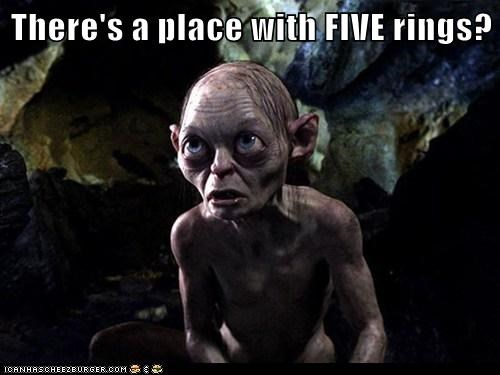 amazed,five,gollum,hopeful,olympics,Precious,rings,Sméagol