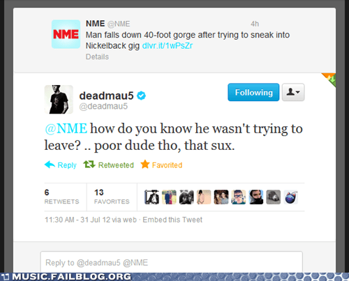 Deadmau5 nickelback tweet twitter - 6471355136