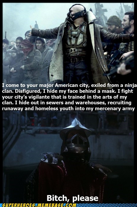 bane,batman,Dark Knight Rises,shredder,Super-Lols