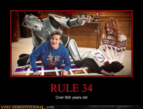Funny Dr. Who meme about Rule 34 which applies even for a 900 year old robot.