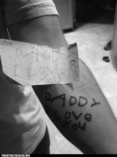 dady,i love you,tattoos