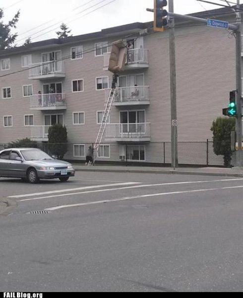 apartment building,couch,ladder,moving