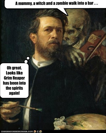 drunk grim reaper painter skeleton - 6472339712