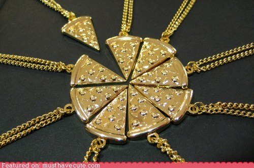 best of the week gold necklace pendant pizza slice TMNT - 6472446208